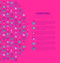 christmas concept with thin line icons vector image