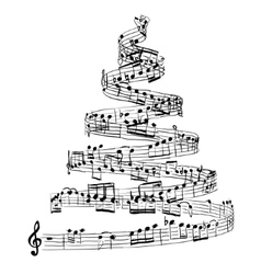 Christmas tree from music notes vector image