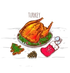 Christmas turkey sketch vector