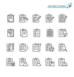 clipboard line icons editable stroke vector image