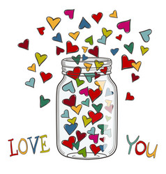Colored hearts in a glass jar vector