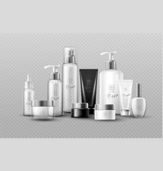 cosmetic bottle mock up set isolated packages on vector image