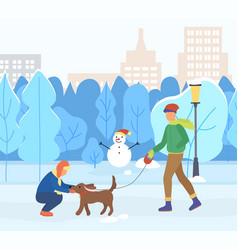 Couple walking with pet in winter park vector