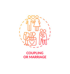 Coupling or marriage red concept icon vector