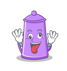 crazy teapot character cartoon design vector image