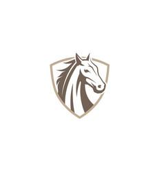 Creative horse shield logo design symbol vector