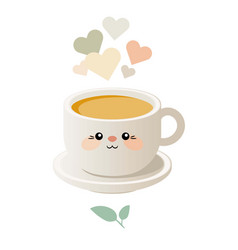 cute kawaii with a cup of tea vector image