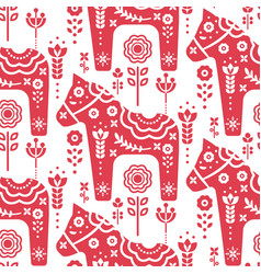 dala swedish horse seamless pattern vector image