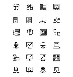 Database and Server Line Icons 3 vector image