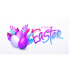 Easter background bright stylish 3d foliage in vector