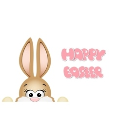 Easter bunny peeking out from the bottom edge of vector image