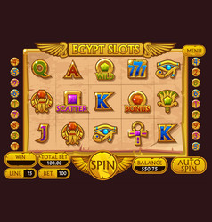 Egypt style casino slot machine game complete vector