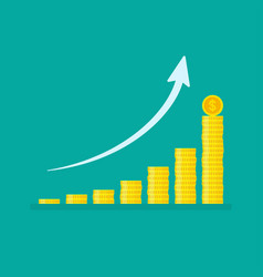 Exponential growth graph with stacks coins vector