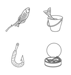 Fishing fish shish kebab fishing set collection vector