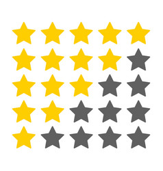 five yellow stars customer rating icon for web vector image