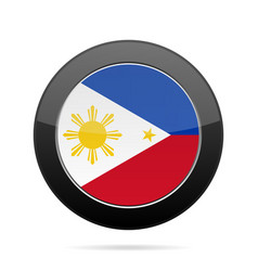 Flag philippines shiny black round button vector