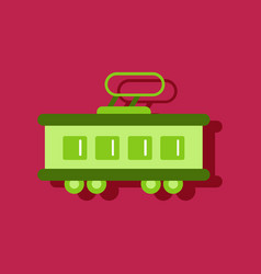 Flat icon design collection tram silhouette in vector