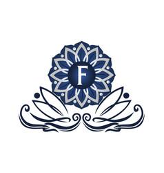flower elegant icon initial f vector image