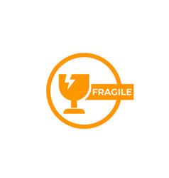 Fragile sticker sign vector