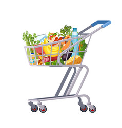 full shopping cart market food grocery and vector image