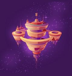 Future space station or starship cartoon vector
