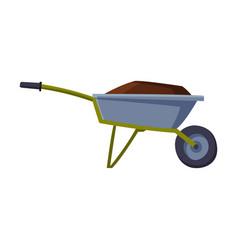 Garden wheelbarrow full soil or compost vector