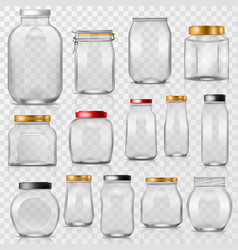 Glass jar empty mason glassware with lid or vector
