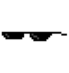 glasses pixel in art style glasses pixel icon vector image