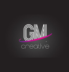 gm g m letter logo with lines design and purple vector image