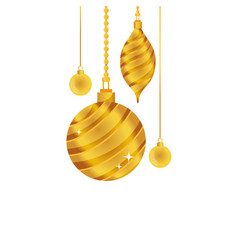 gold oval and circle balls hanging decoration vector image