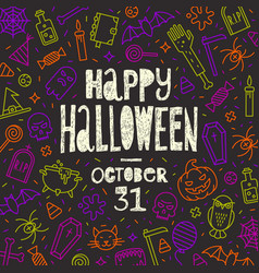 halloween hand drawn greeting on a background vector image