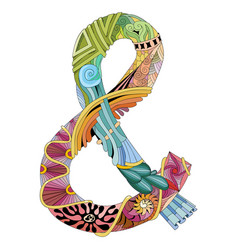 hand drawn zentangle ampersand decorative vector image