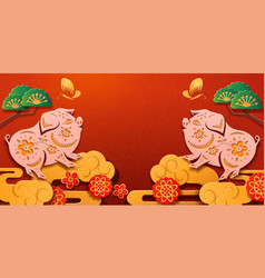 happy 2019 chinese new year with pig zodiac sign vector image