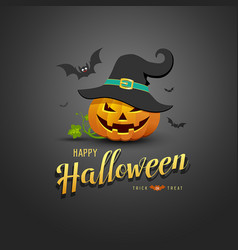 Happy halloween pumpkin wear black hats and bat vector