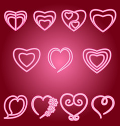 Heart set of icons vector