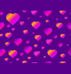 hearts seamless pattern with purple gradient vector image