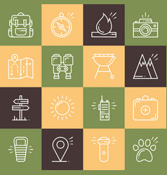 Hiking and camping line icons set outdoor camp vector