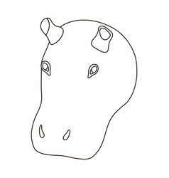 Hippopotamus icon in outline style isolated on vector