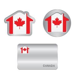 Home icon on canada flag vector