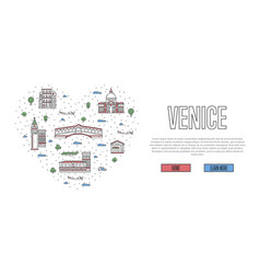 i love venice poster in linear style vector image