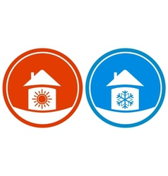 icons with sun and snowflake on house vector image