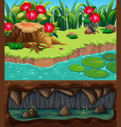 Landscape design with river and underground vector