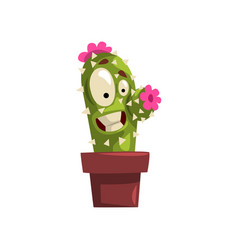 Laughing cactus character with pink flowers in a vector