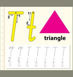 Letter t tracing alphabet worksheets vector