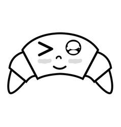 Line kawaii cute funny croissant food vector
