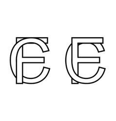 Logo sign fc cf icon sign interlaced letters c f vector