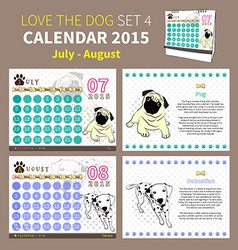 LOVE THE DOG CALENDAR 2015 SET 4 vector image