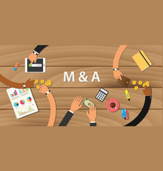 M a merger and acquisition with team working on vector