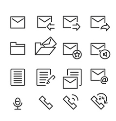 Mail and call icon line vector