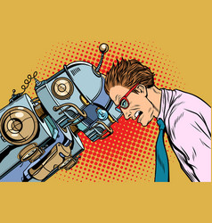 Many robots vs human humanity and technology vector